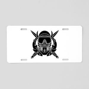 Combat Diver B-W Aluminum License Plate