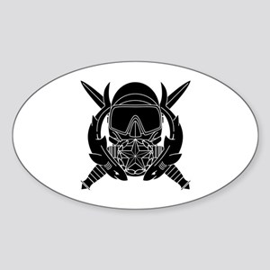 Combat Diver Supervisor B-W Sticker (Oval)