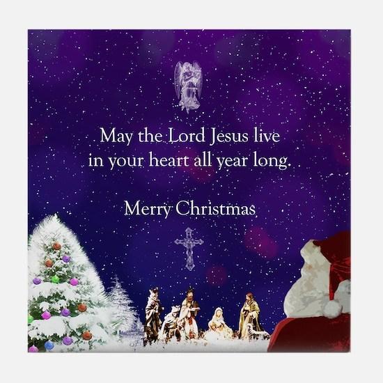 Santa in Nativity Tile Coaster