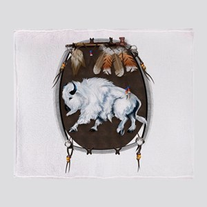 White Buffalo Shield Throw Blanket