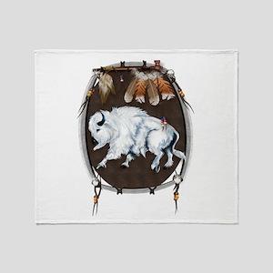 White Buffalo Shield Throw Blanket