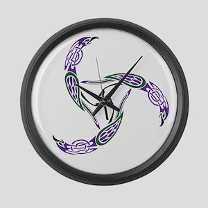 Knotwork Ravens Large Wall Clock