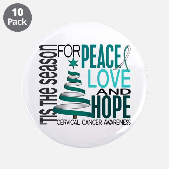 """Christmas 1 Cervical Cancer 3.5"""" Button (10 pack)"""
