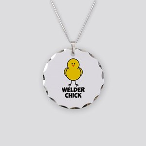 Welder Chick Necklace Circle Charm