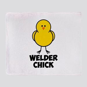 Welder Chick Throw Blanket