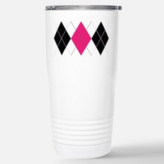 Pink and Black Argyle Stainless Steel Travel Mug