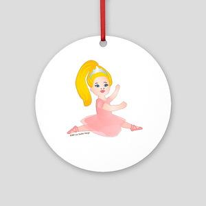 Ballerina Girl Jump Blonde Ornament (Round)