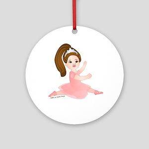 Ballerina Girl Jump Brunette Ornament (Round)