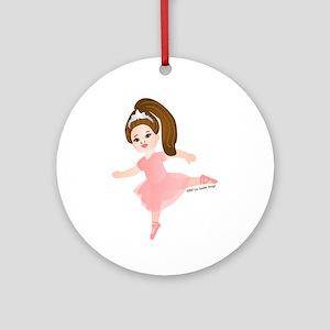 Ballerina Girl Brunette Dance Ornament (Round)