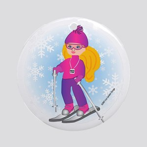 Ski Girl (blonde) Ornament (Round)