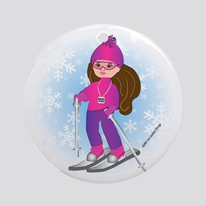 Ski Girl (brunette) Ornament (Round)