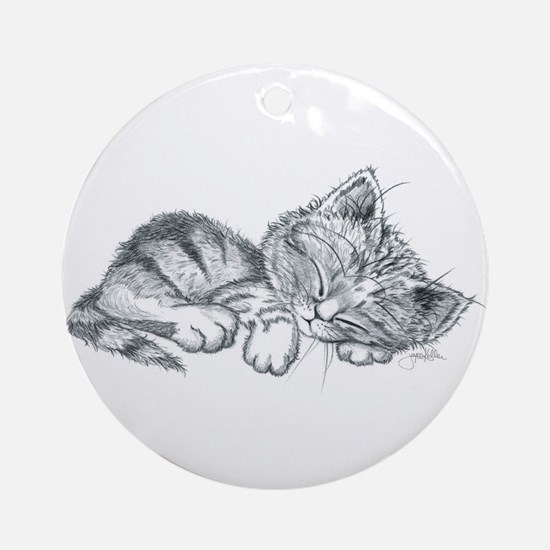 Sleeping Kitten Ornament (Round)