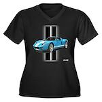 New Racing Car Women's Plus Size V-Neck Dark T-Shi