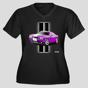 New Dodge Challenger Women's Plus Size V-Neck Dark
