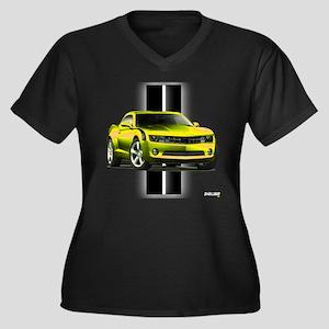 New Camaro Yellow Women's Plus Size V-Neck Dark T-