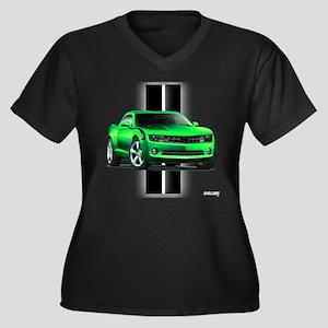 New Camaro Green Women's Plus Size V-Neck Dark T-S