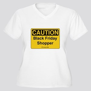Caution Black Friday Shopper Women's Plus Size V-N