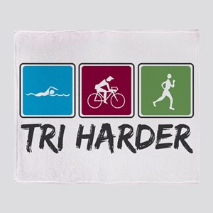Tri Harder (Triathlon) Throw Blanket