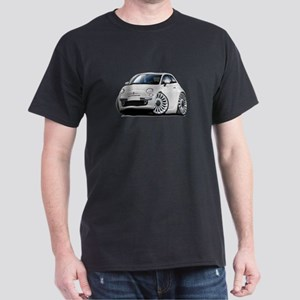 Fiat 500 White Car Dark T-Shirt