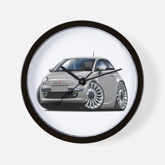 Fiat 500 Silver Car Wall Clock