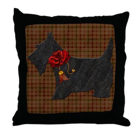Harvest Moon's Christmas Scottie Throw Pillow