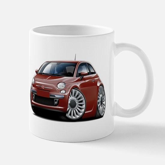 Fiat 500 Maroon Car Mug