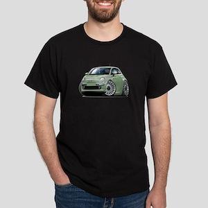 Fiat 500 Lt. Green Car Dark T-Shirt