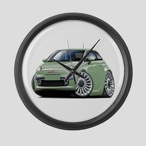 Fiat 500 Lt. Green Car Large Wall Clock