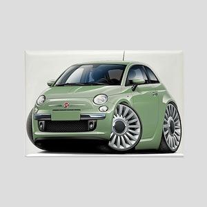 Fiat 500 Lt. Green Car Rectangle Magnet