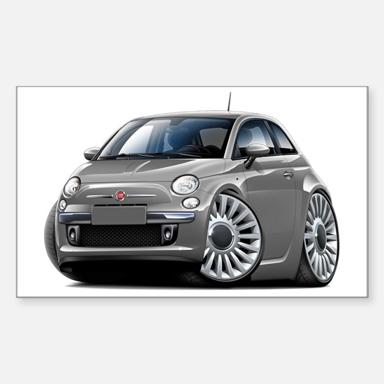 Fiat 500 Grey Car Sticker (Rectangle)