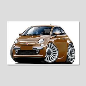Fiat 500 Brown Car 22x14 Wall Peel