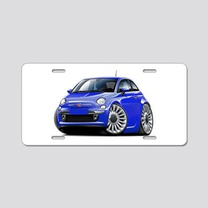 Fiat 500 Blue Car Aluminum License Plate