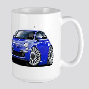 Fiat 500 Blue Car Large Mug