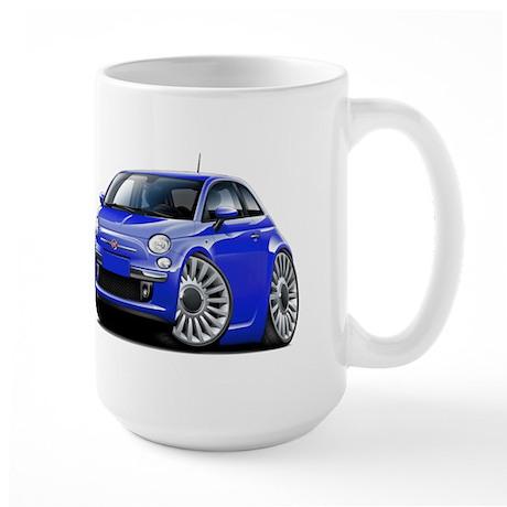 Fiat 500 Blue Car Large Mug