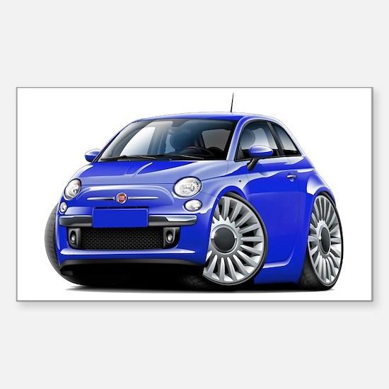 Fiat 500 Blue Car Sticker (Rectangle)