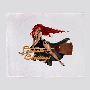 Samhain Blessings Witch Throw Blanket