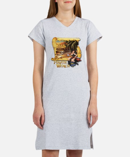 Pirate Wench Ship and Map Women's Nightshirt