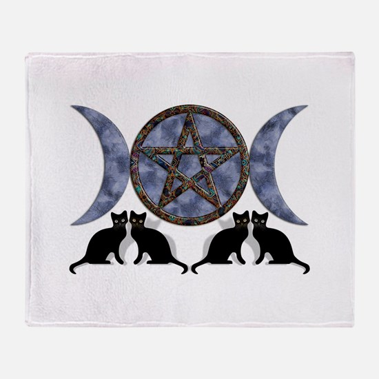 Mystic Blue Pentagram Throw Blanket