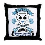 Blue Revenge and Revolution Throw Pillow