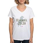 """Ezekiel 23:20"" women's white v-neck"
