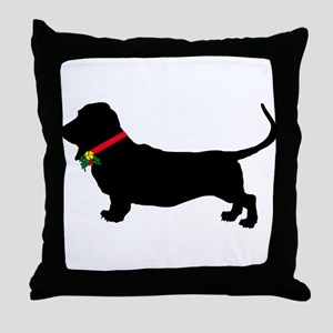 Christmas or Holiday Basset Hound Silhouette Throw