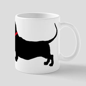 Christmas or Holiday Basset Hound Silhouette Mug