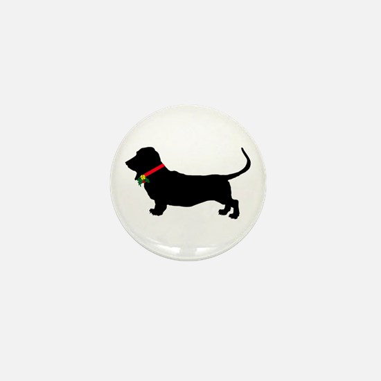 Christmas or Holiday Basset Hound Silhouette Mini