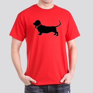 Christmas or Holiday Basset Hound Silhouette Dark