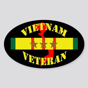Vietnam Vet 3 Star Sticker (Oval)