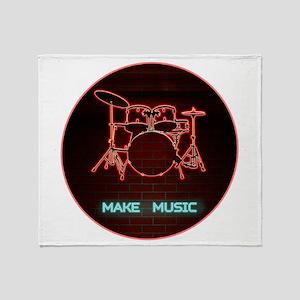 Neon Drums MAKE MUSIC Throw Blanket