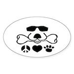 Peace Love Dog Cool Dog Duke Sticker (Oval 50 pk)