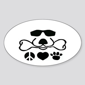 Peace Love Dog Cool Dog Duke Sticker (Oval)