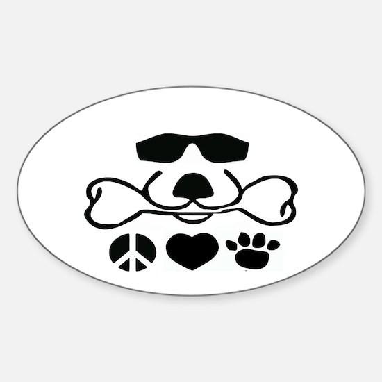 Peace Love Dog Cool Dog Duke Sticker (Oval)