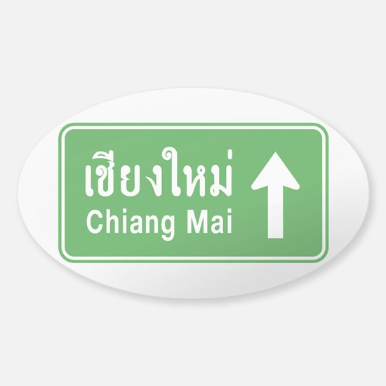 Chiang Mai Thailand Traffic Sign Sticker (Oval)